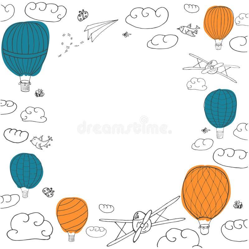 Bandera del vector con los baloons coloridos del aire caliente stock de ilustración