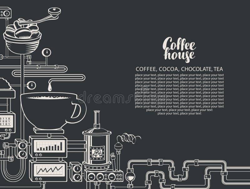 Bandera del vector con una producción del café del transportador stock de ilustración
