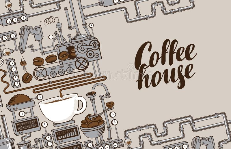 Bandera del vector con una producción del café del transportador libre illustration