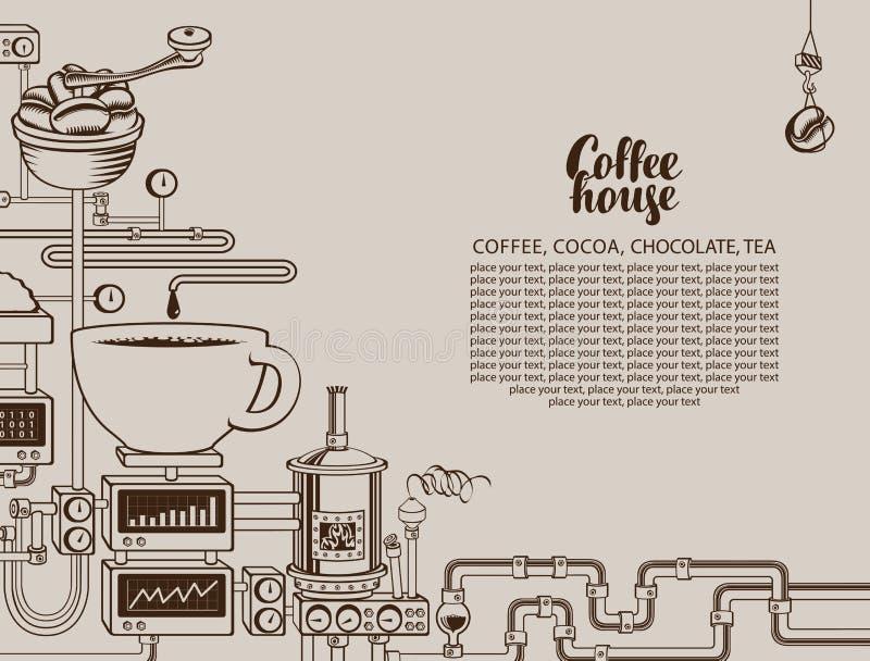 Bandera del vector con una producci?n del caf? del transportador libre illustration