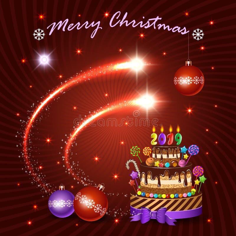 Bandera del vector del día de fiesta de la Navidad y del Año Nuevo Elementos, torta y decoraciones de destello brillantes para el stock de ilustración