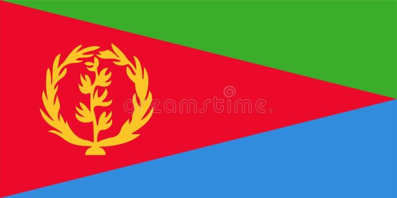 Bandera del vector de Eritrea 1:2 de la proporci?n Bandera nacional Eritrean Estado de Eritrea stock de ilustración