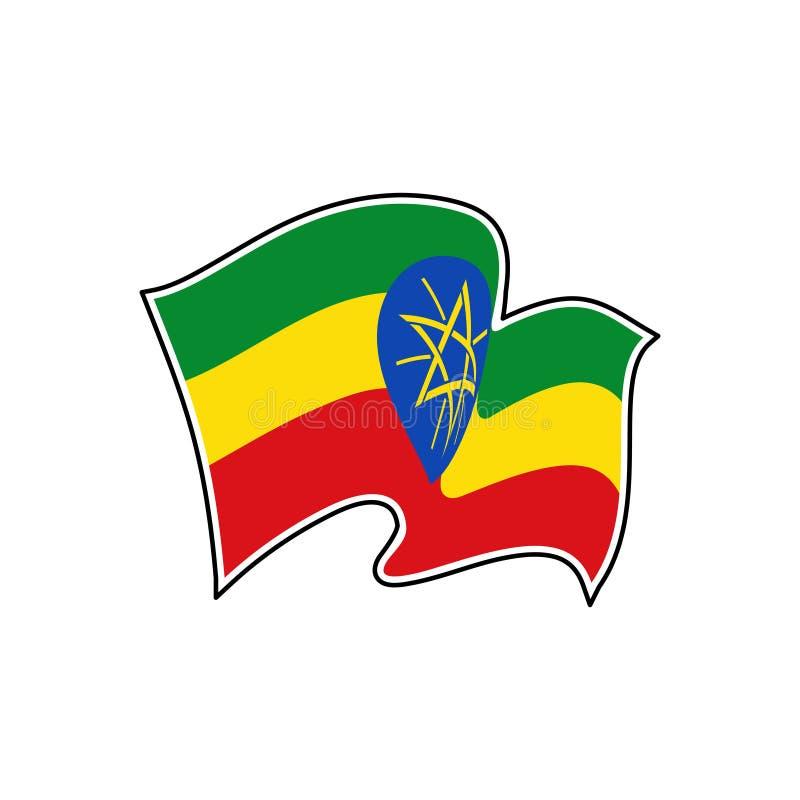 Bandera del vector de Etiopía Símbolo nacional de Etiopía libre illustration