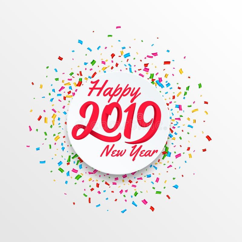 Bandera del vector de la Feliz Año Nuevo 2019 con el fondo circular del convetti libre illustration