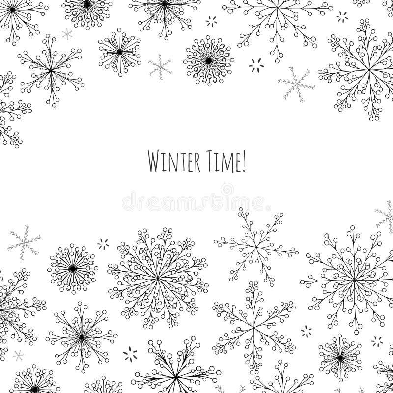 Bandera del vector de la Navidad con los copos de nieve dibujados mano stock de ilustración