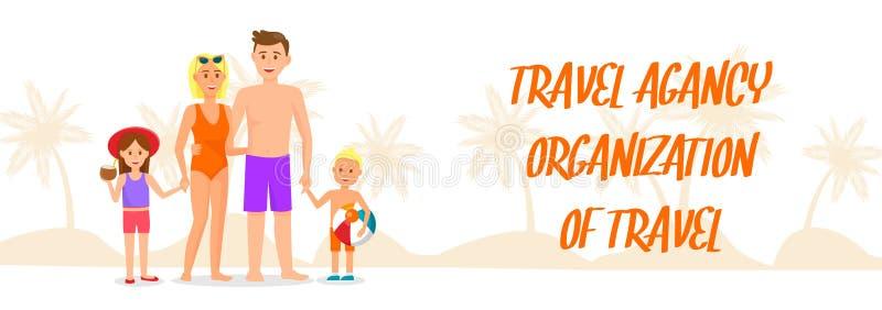 Bandera del vector de la organización del viaje con las letras ilustración del vector