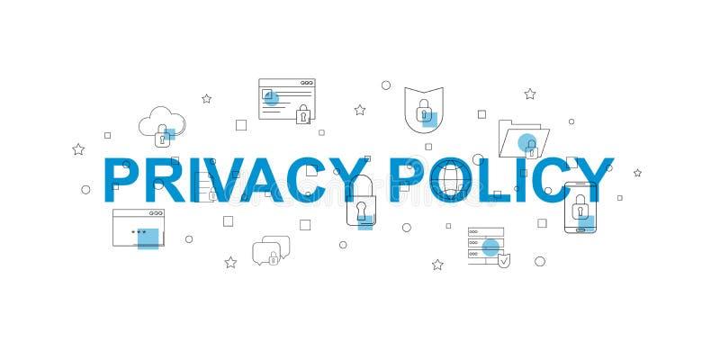 Bandera del vector de la política de privacidad Palabra con la línea icono libre illustration