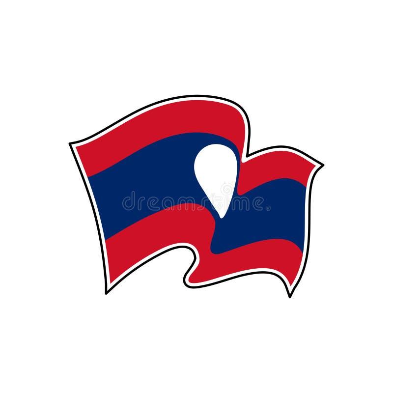 Bandera del vector de Laos Símbolo nacional de Laos ilustración del vector