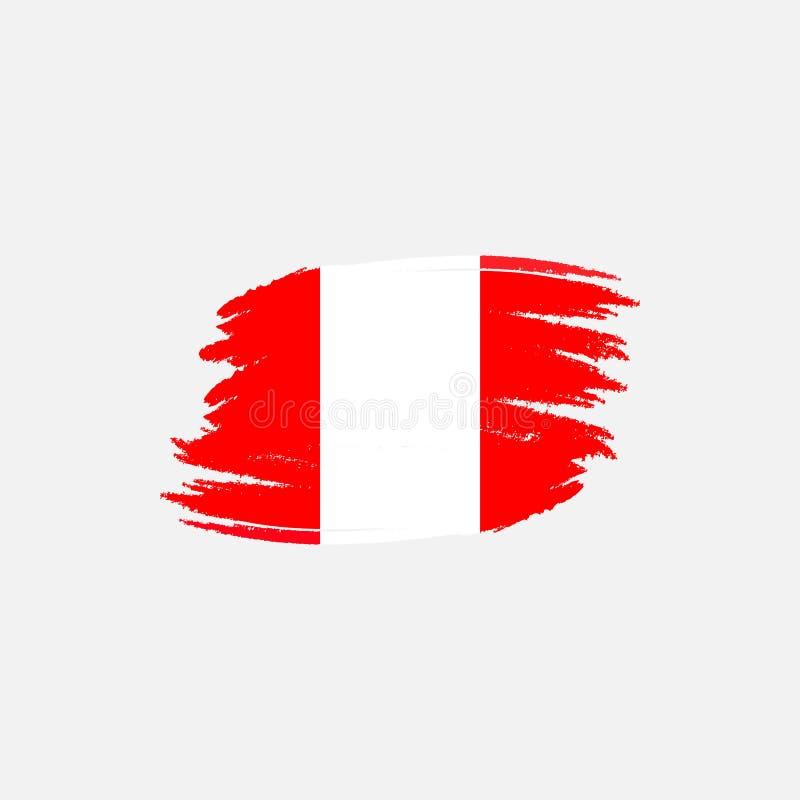 Bandera del vector de Perú Ejemplo del vector para el día nacional peruano Bandera peruana en estilo de moda del grunge Diseño ilustración del vector