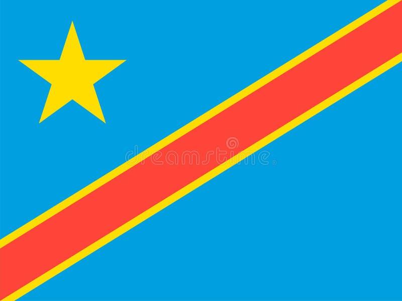 Bandera del vector de República Democrática del Congo 3:4 de la proporción Bandera nacional congolesa Congo-Kinshasa ilustración del vector