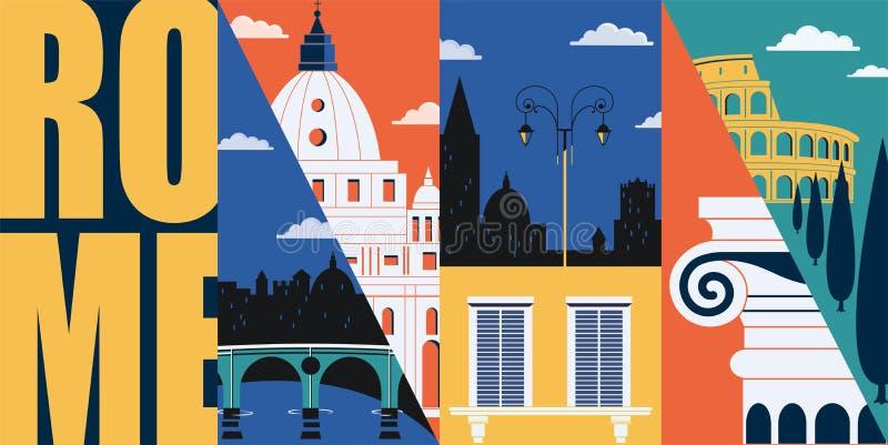 Bandera del vector de Roma, Italia, ejemplo Horizonte de la ciudad, edificios históricos en diseño plano moderno ilustración del vector