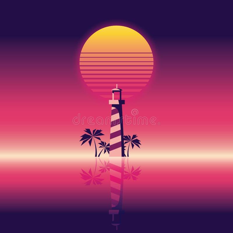 Bandera del vector del partido de la playa del verano o plantilla del aviador estilo de neón retro del resplandor 80s Faro y palm stock de ilustración