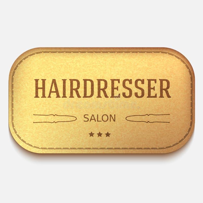 Bandera del vector Escritura de la etiqueta de cuero logotipo o emblema del peluquero Horquilla ilustración del vector