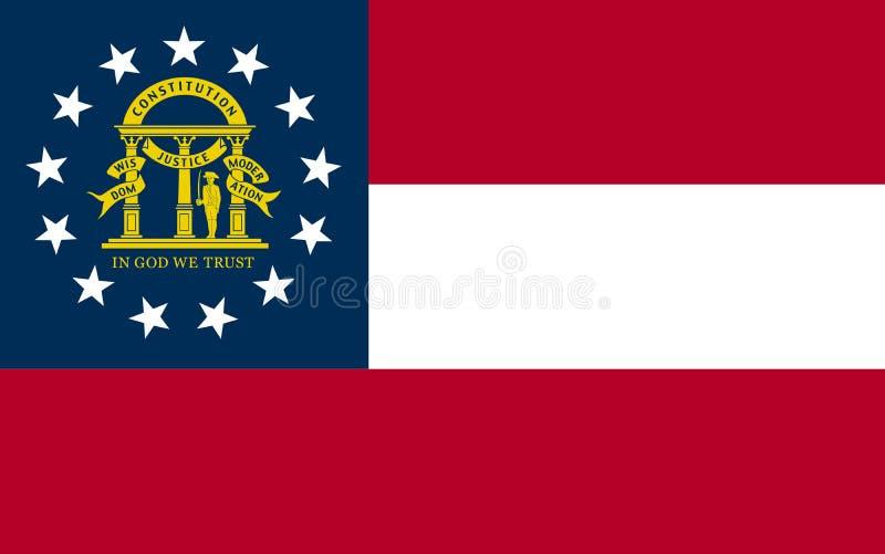 Bandera del vector del estado de Georgia Los Estados Unidos de América stock de ilustración