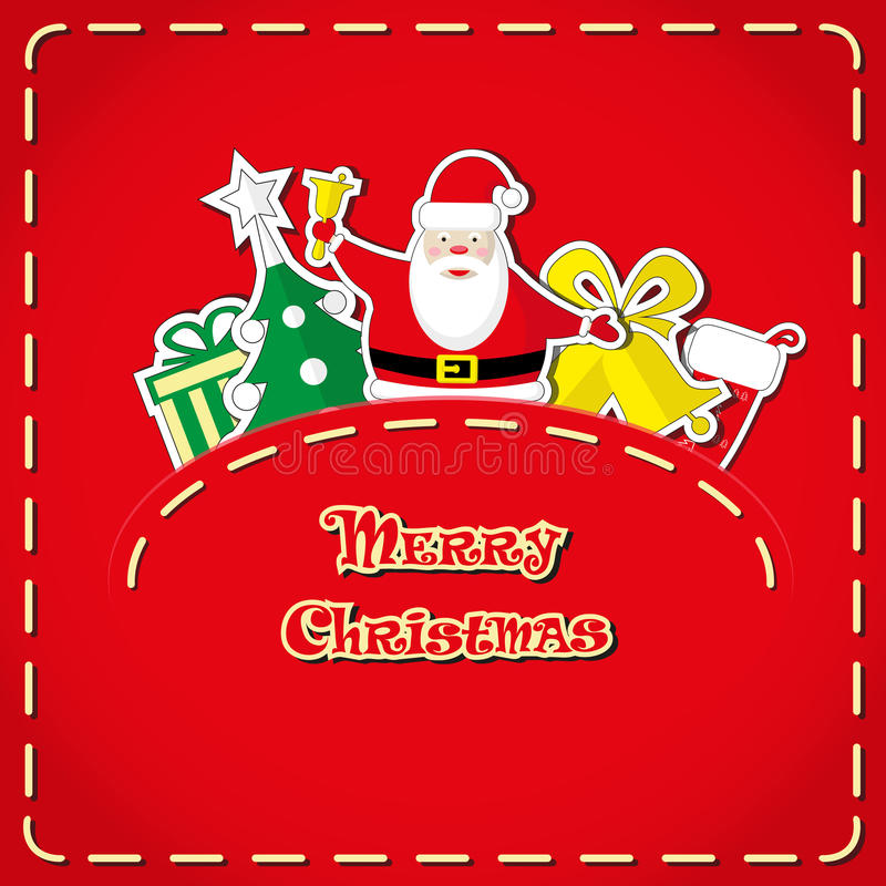 Bandera del vector: Santa Claus linda, el árbol de navidad, la caja de regalo, el calcetín de santa, las campanas en bolsillo de  ilustración del vector