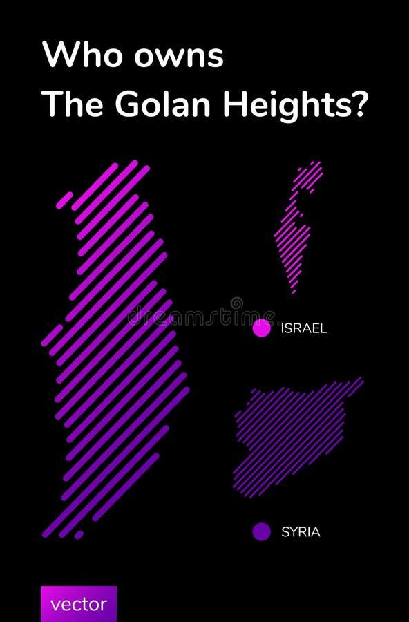 Bandera del vector sobre el conflicto político de Israel y de Siria sobre los Altos del Golán libre illustration