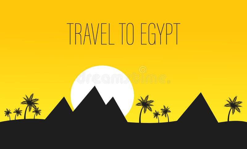Bandera del vector del viaje de Egipto con las letras, texto libre illustration