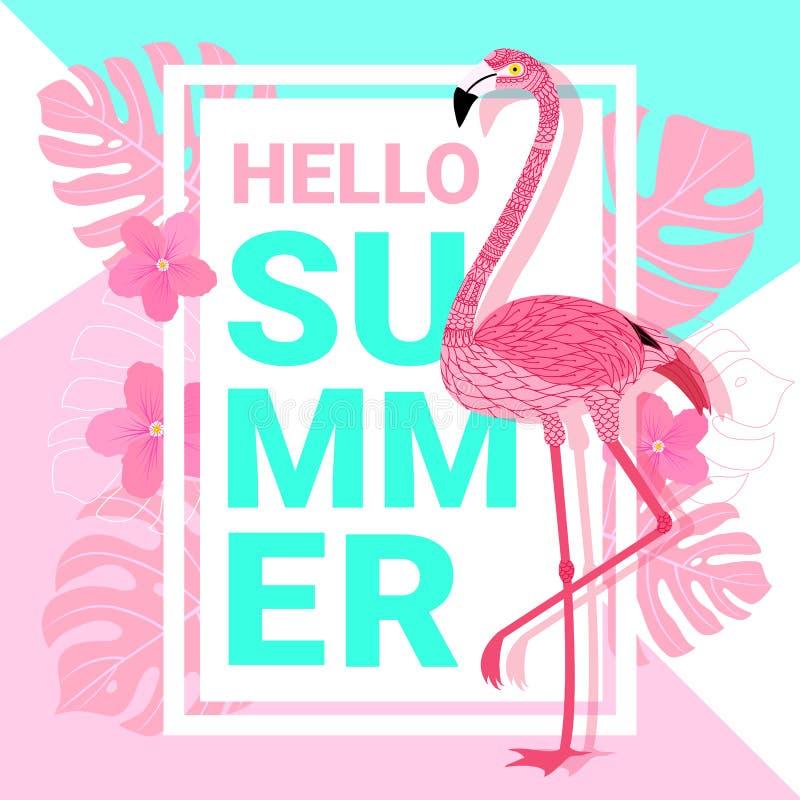 Bandera del verano con el flamenco y las hojas tropicales stock de ilustración