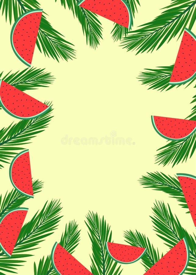 Bandera del verano con las hojas de la palmera y las rebanadas verdes de la sandía ilustración del vector