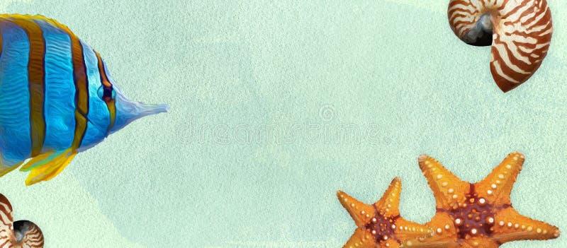 Bandera del verano con los cepillos de la pintura y de la acuarela de aceite Concha marina, pescados, estrellas de mar en un fond stock de ilustración