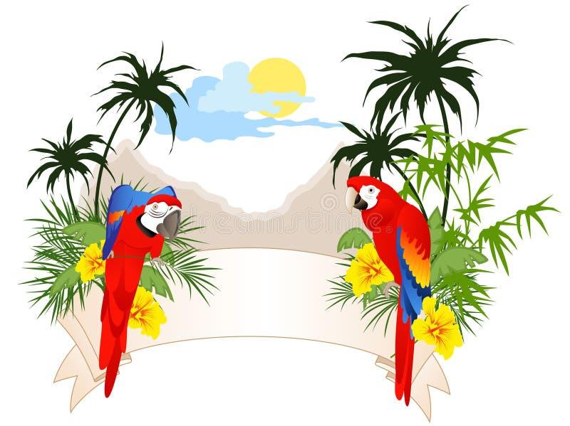 Bandera del verano con los loros stock de ilustración