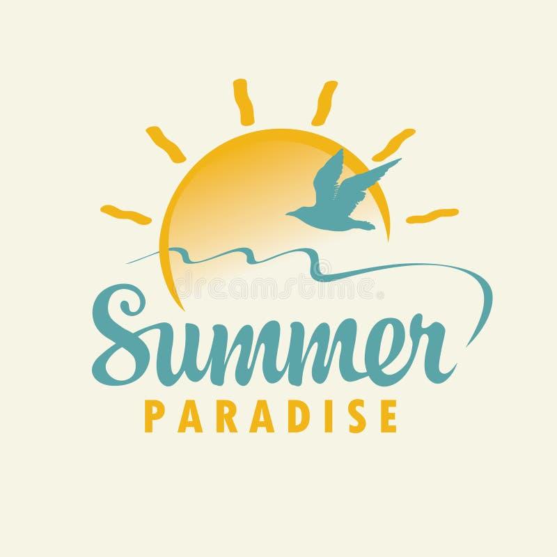 Bandera del verano del viaje con la inscripci?n, sol, gaviota stock de ilustración