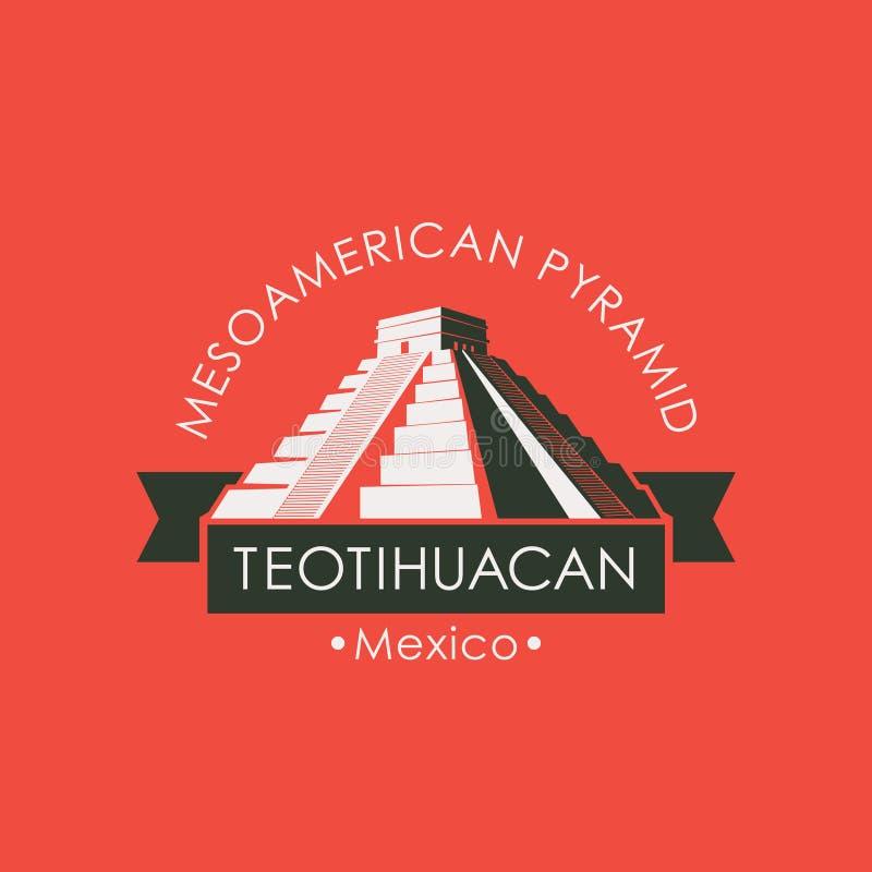 Bandera del viaje con las pirámides mesoamericanas en México stock de ilustración