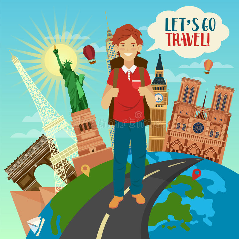 Bandera del viaje con los edificios famosos del mundo en el globo ilustración del vector