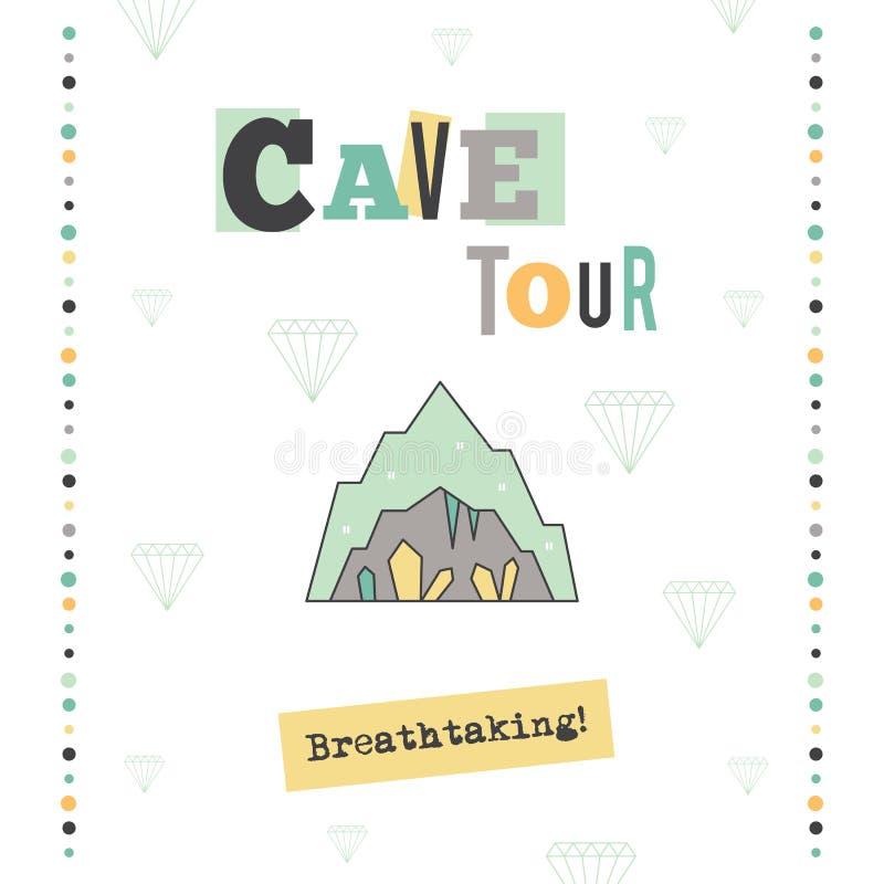 Bandera del viaje de la cueva stock de ilustración