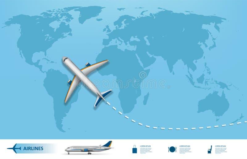 Bandera del viaje de negocios con el fondo del aeroplano y del mapa del mundo Concepto realista del viaje de los aviones Mapa del libre illustration