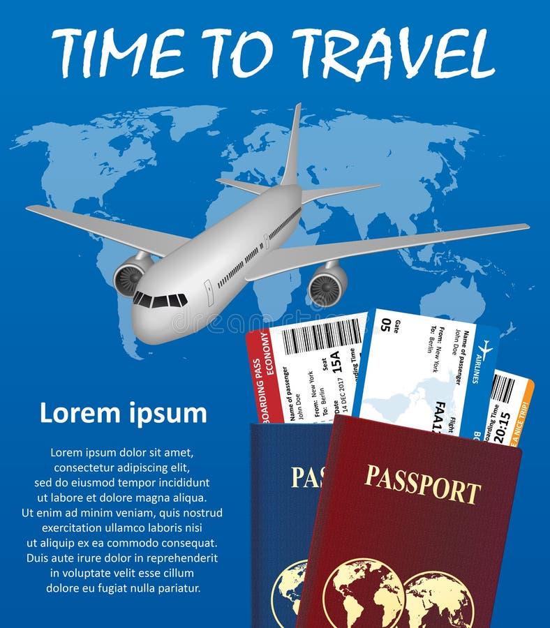 Bandera del viaje de negocios con el pasaporte, boletos, aeroplano stock de ilustración