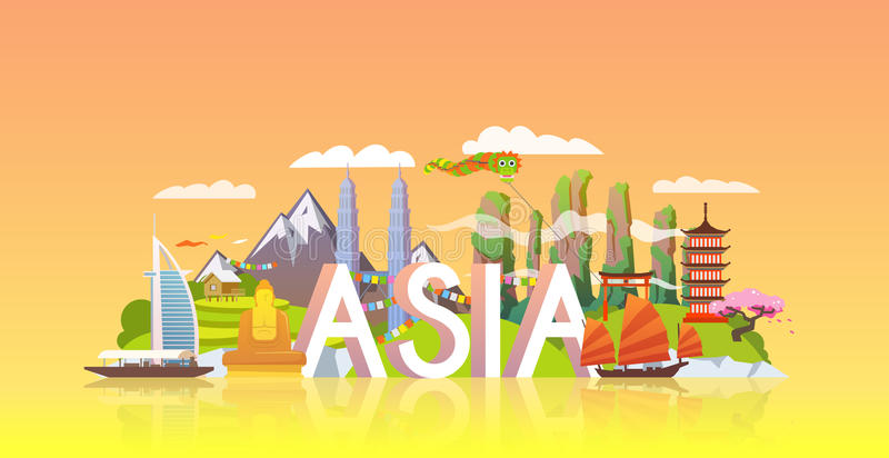 Bandera del viaje Viaje a Asia stock de ilustración