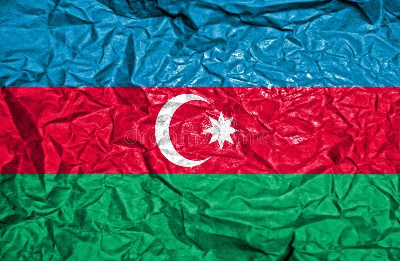 Bandera del vintage de Azerbaijan en viejo fondo de papel arrugado imagen de archivo libre de regalías