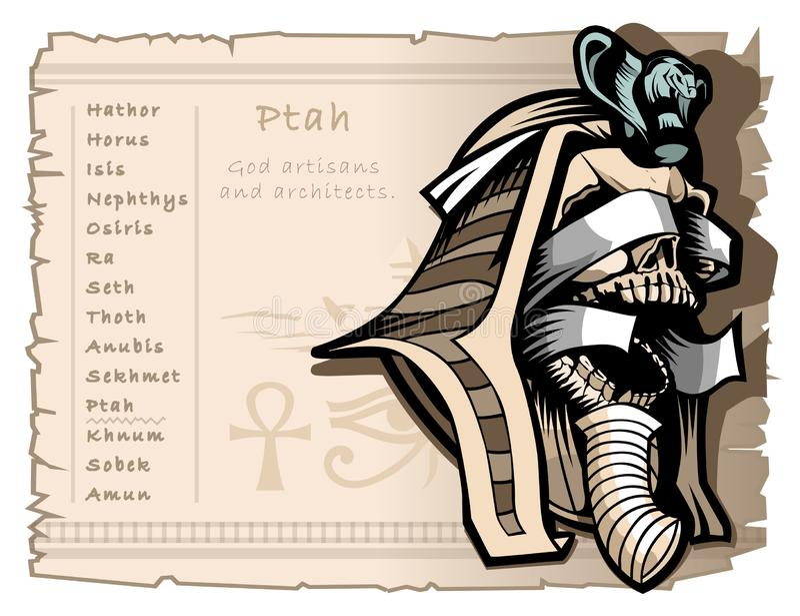 Bandera del vintage para las camisetas y los tatuajes en el tema de dioses egipcios antiguos Patrón de Ptah de artesanos y de arq stock de ilustración