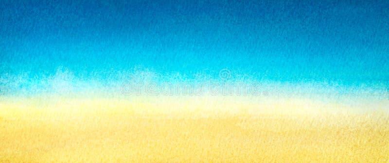 Bandera del web azul clara calentar la pendiente abstracta amarilla del mar y de la playa pintada en acuarela en fondo blanco lim stock de ilustración