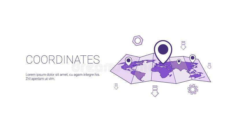 Bandera del web del concepto de la ubicación geográfica de los coordenadas con el espacio de la copia stock de ilustración
