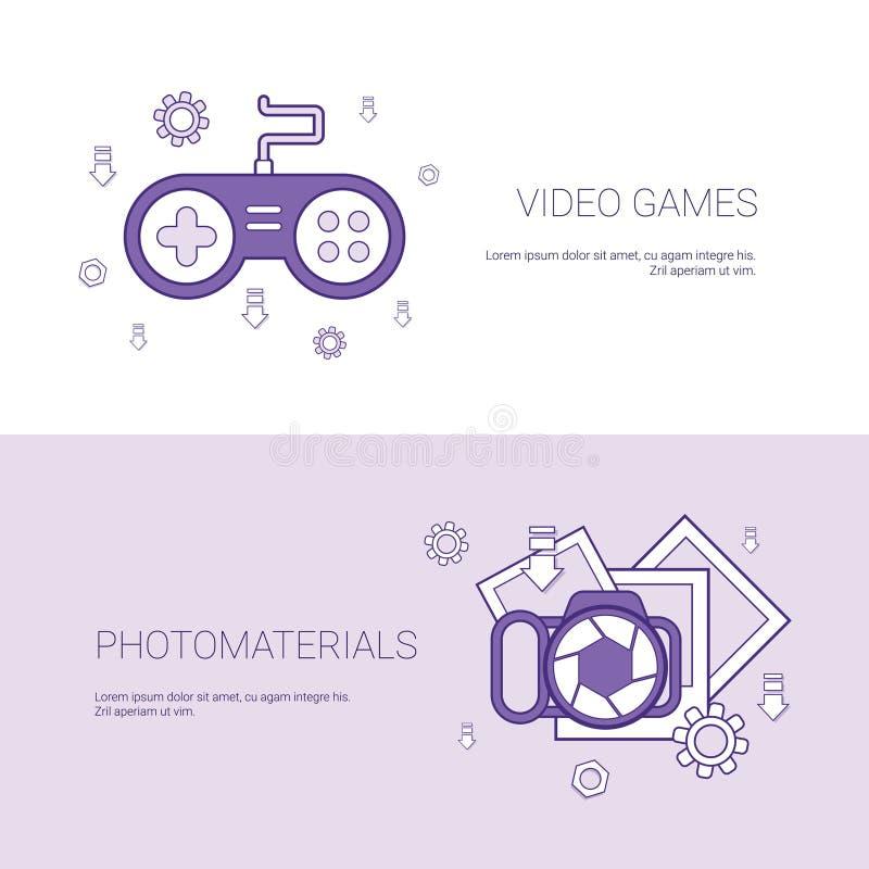 Bandera del web de la plantilla del concepto de los videojuegos y de los materiales de la foto con el espacio de la copia ilustración del vector