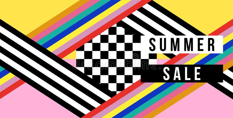 Bandera del web de la venta del verano en estilo retro colorido stock de ilustración
