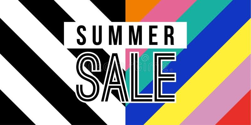 Bandera del web de la venta del verano en estilo retro colorido libre illustration