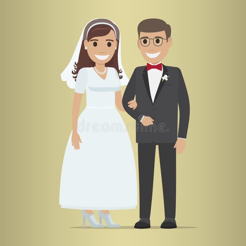Bandera del web del día de boda Diseño de los pares de los recienes casados stock de ilustración