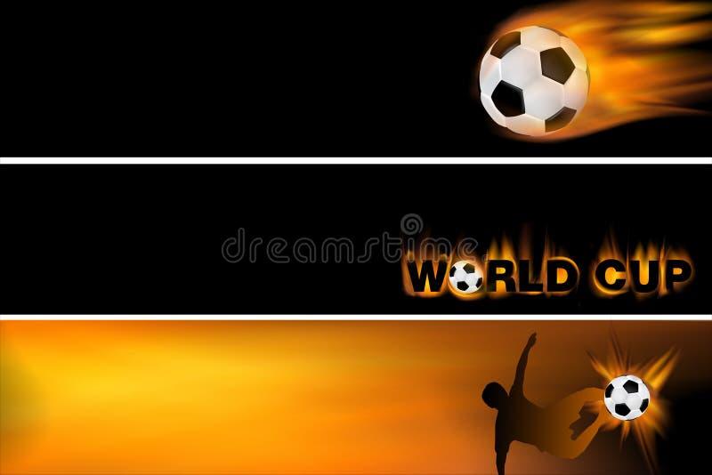 Bandera del Web para el balompié y la taza de mundo libre illustration
