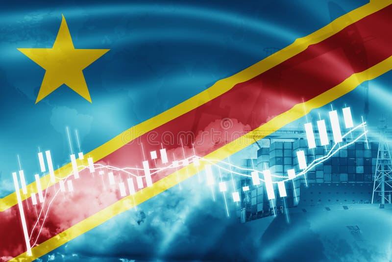 Bandera Democratic del República del Congo, mercado de acción, economía y comercio del intercambio, producción petrolífera, porta ilustración del vector