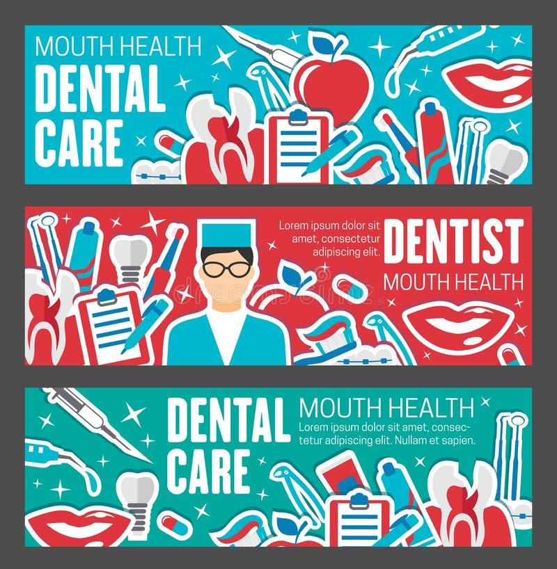 Bandera dental de la clínica para el diseño de la atención sanitaria del diente ilustración del vector