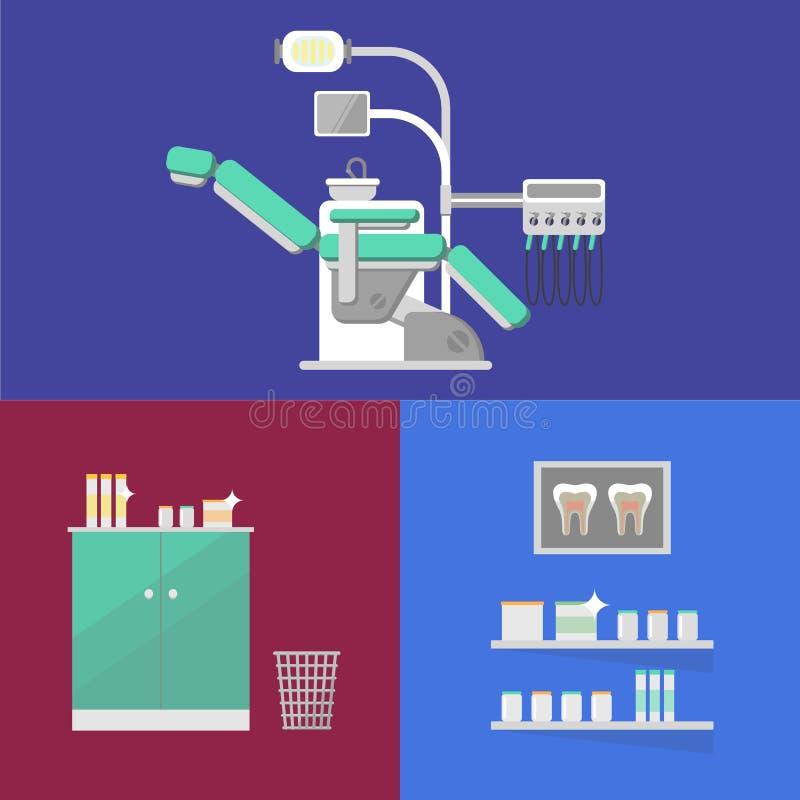Bandera dental de la oficina con el equipo dental stock de ilustración