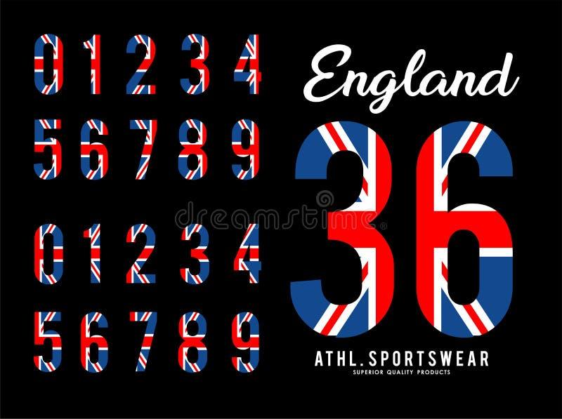 Bandera determinada Reino Unido del número de Inglaterra stock de ilustración