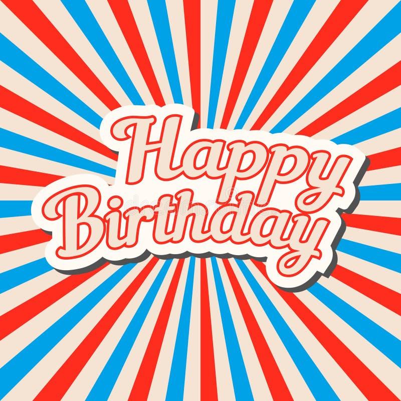 Bandera dibujada mano del feliz cumpleaños, diseño de letras del estilo del arte pop en stock de ilustración