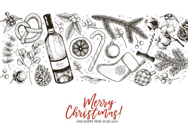 Bandera dibujada mano del saludo de la Navidad Vector la rama del pino, abeto, eucalipto, acebo, algodón, caramelos, botella de v libre illustration