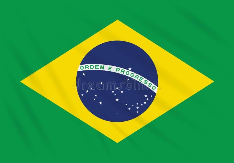 Bandera el Brasil que se sacude en el viento, vector realista ilustración del vector