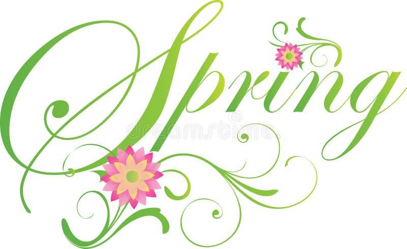Bandera elegante de la primavera en verde stock de ilustración