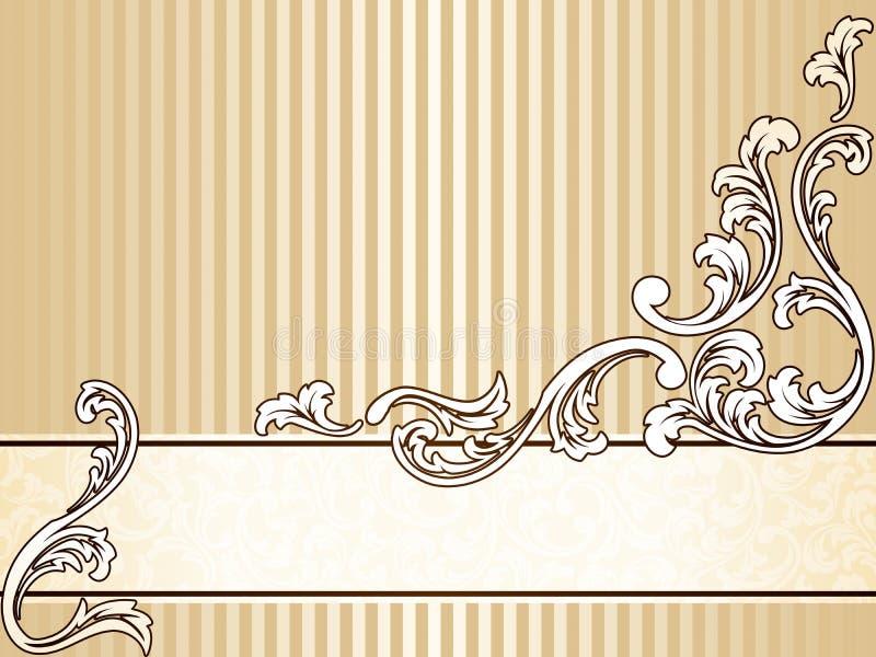 Bandera elegante de la sepia de la vendimia, horizontal stock de ilustración